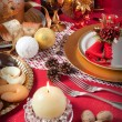 Stock Photo: Christmas table near the fireplace