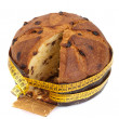 Panettone with meter, diet concept after Christmas — Stock Photo