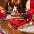 Stock Photo: Decorated Christmas Dinner Table Setting