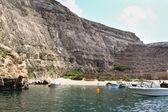 Malta, gozo eiland, panoramisch uitzicht van interne lagune van dwerja — Stockfoto