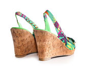 Wedge-heeled woman shoe — ストック写真