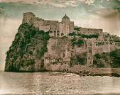 Aragonese Castle to Ischia, vintage style — Stock Photo