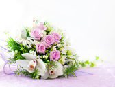 Wedding Pink Roses And White Orchid Bouquet — Stock Photo