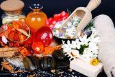 Accessories for spa with flowers of jasmine — Zdjęcie stockowe