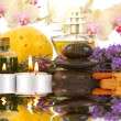 Accessories for spa with orchids, lavender, stones, candles and — Stock Photo