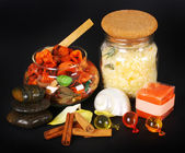 Accessories for spa with salt bath, cinnamon and stones — Foto de Stock