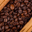 Stock Photo: Frame with coffee beans and ceylon cinnamon