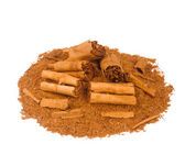 Sticks and ground ceylon cinnamon — Stock Photo
