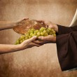 Jesus gives bread and grapes — Foto Stock