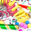 Colorful decoration with garlands, streamer, and confetti. — Foto de Stock