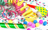 Colorful decoration with garlands, streamer, and confetti. — Stock Photo