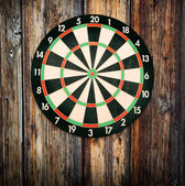 Red bullseye on a dartboard — Stock Photo