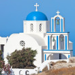 Santorini, church with blue cupola — Stock Photo #38679997