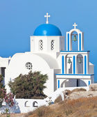 Santorini, church with blue cupola — Stock Photo