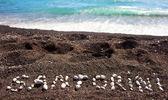 Text Santorini made with pumice stones — Stock Photo