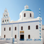 The Church of Panagia of Platsani - Santorini — Stock Photo