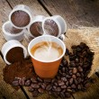 Stock Photo: Espresso coffee in disposable cup with pods