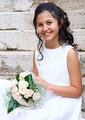 First Communion beautiful girl — Stock Photo
