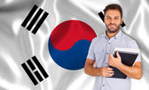 Smiling student learns the korean language — Foto Stock