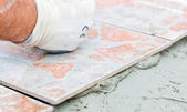 Floor Tile Installation — Stock Photo