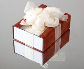 The gift box with a brown cover — Stock Photo