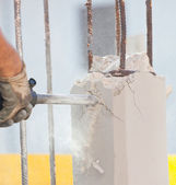 Breaking reinforced concrete with jackhammer — Stock Photo