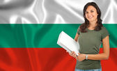 ブルガリアの国旗をめぐる女性学生 — ストック写真