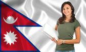 Female student over Nepalese flag — Stock Photo