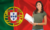 Female student over Portuguese flag — Stockfoto