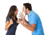 Portrait of young angry couple — Stock Photo