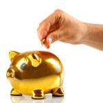 Golden piggy bank with small light bulbs — Stock Photo #42467661