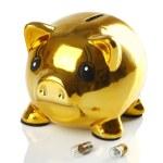 Golden piggy bank with small light bulbs — Stock Photo #42467719