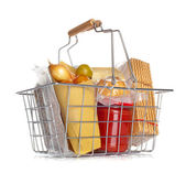 The shopping basket with various food — 图库照片