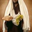 Jesus gives bread and grapes — Stock Photo #43178585
