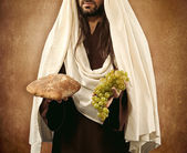 Jesus gives bread and grapes — Stock Photo