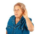 Elderly woman, hearing problems — Stock Photo