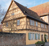 Traditional Half Timbered School in Rothenburg ob der Tauber — Stock Photo