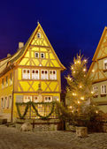 House in Rothenburg ob der Tauber by nigh — Stock Photo