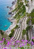 Capri, Via Krupp, Italy. — Stock Photo