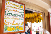 Lemon ice cream kiosk in Capri — Stock Photo