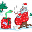 Santa Claus and the snake. — Stock Vector