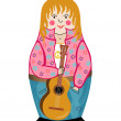 Stock Vector: Hippy. Nesting doll.