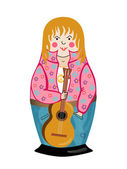 Hippy. Nesting doll. — Stock Vector
