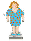 Fat woman in a dress standing on the scales. — Stock Vector