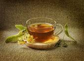 Cup with linden tea and flowers — Stock Photo