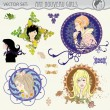 Royalty-Free Stock Imagen vectorial: Art nouveau styled girls