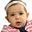 Baby girl with funny face — Stock Photo