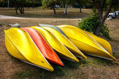Several canoe lying on a shore — Stock Photo