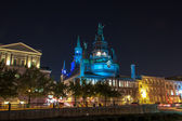 Notre Dame de Bon Secours Shapel from Old Port side at night — Stock Photo