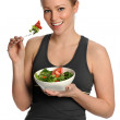 Portrait of Young Happy Woman Eating Salad — Stock Photo